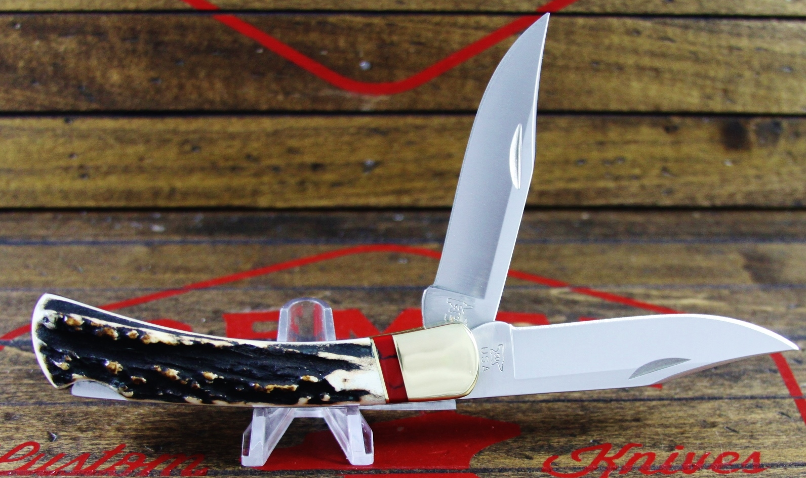 110 Stag Bloody Jasper Double Blade - 3